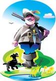 Cacciatore con un fucile e un cane royalty illustrazione gratis