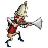 Cacciatore del fumetto con un inseguimento del trombone Fotografie Stock