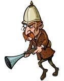 Cacciatore del fumetto con un trombone Fotografie Stock Libere da Diritti