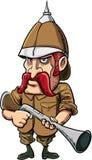 Cacciatore del gran gioco del fumetto con il casco di midollo Immagine Stock