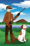 Cacciatore dell'anatra con il suo cane Fotografia Stock