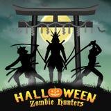 Cacciatore dello zombie del samurai con il portone del tempio di stile del Giappone royalty illustrazione gratis