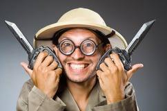 Cacciatore divertente di safari Immagini Stock Libere da Diritti