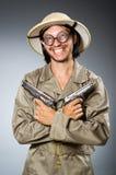 Cacciatore divertente di safari Fotografia Stock