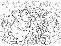 Cacciatore ed orso polare Fotografia Stock