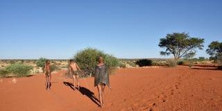 Cacciatori dei boscimani, deserto del Kalahari, Namibia Fotografia Stock