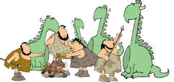 Cacciatori del Caveman Immagine Stock