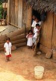 Cacciatori indigeni in amazonas nell'impatto del Brasile di povertà sulle povere vicinanze a Belize che causa sviluppo agricolo Immagini Stock