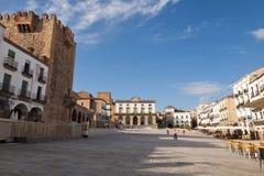 caceres主要西班牙广场 库存图片