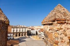 caceres主要西班牙广场 免版税图库摄影