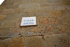 Caceres Calle Ancha street sign in Spain. Extremadura stock photo