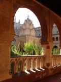 caceres de detail guadalupe遗产玛丽亚修道院皇家圣诞老人站点西班牙塔科教文组织世界 免版税库存照片