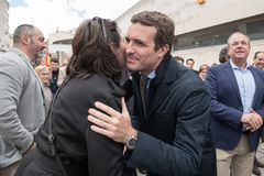 Arrival and greetings from Pablo Casado leader of the conservative Popular Party in Caceres, Spain royalty free stock image