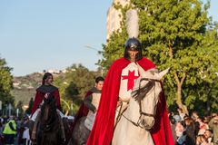 St. George riding his horse during the feast of St. George and the dragon. royalty free stock photos