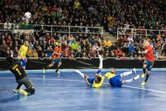 Indoor footsal match of national teams of Spain and Brazil at the Multiusos Pavilion of Caceres stock image