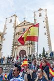 Attendants with flags of Spain to the meeting of Vox, far right Spanish party, with its leader Santiago Abascal. Caceres, Extremadura, Spain - May  18, 2019 royalty free stock photos