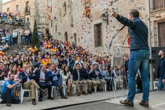 The leader of the far-right party Vox, during his speech at the rally held in the Plaza de San Jorge in Caceres. Caceres, Extremadura, Spain - May  18, 2019 royalty free stock image