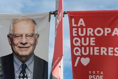 Poster with the image of Josep Borrel, candidate for the PSOE in the European elections, in Caceres. royalty free stock photos