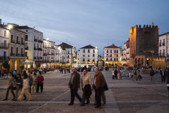 Caceres Nightlife. CACERES, SPAIN - APRIL 24: nightlife at Caceres main square. April 24, 2010 in Caceres, Spain. Caceres downtown is a magnificent example of Stock Images