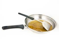 Cacerola con petróleo usado Foto de archivo libre de regalías