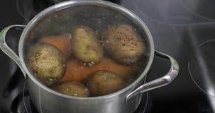 Cacerola de ebullición caliente con las patatas y las zanahorias de las verduras El cocinar en cocina metrajes