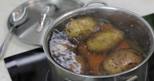 Cacerola de ebullici?n caliente con las patatas y las zanahorias de las verduras El cocinar en cocina almacen de video