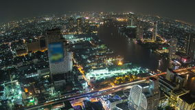 Cacerola de Fisheye del lapso de tiempo del paisaje urbano de Bangkok almacen de video
