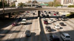 Cacerola de la autopista sin peaje céntrica de Los Ángeles - lapso de tiempo almacen de video