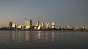 Cacerola de la puesta del sol de Perth de la explanada del sur de Perth metrajes