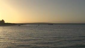 Cacerola de los barcos a la puesta del sol en la playa de Mia del mono en parque nacional de la bahía del tiburón almacen de video