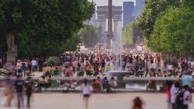 Cacerola de París del lapso de tiempo del tráfico peatonal de la ciudad
