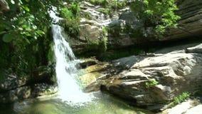 Cacerola del árbol a la cascada en Maries, Thassos Grecia almacen de video