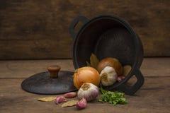 Cacerola del hierro con los ingredientes de la condimentación Fotos de archivo