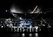 cacerola del wok Fotografía de archivo libre de regalías