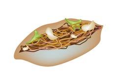 Cacerola deliciosa de Yakisoba en un fondo blanco stock de ilustración