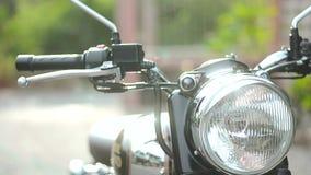Cacerola lateral 03 Headligh4 de la motocicleta almacen de metraje de vídeo
