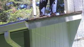 Cacerola que descarga el tejado almacen de video