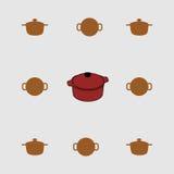 Cacerola roja con una tapa, y su silueta Fotos de archivo