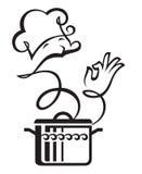 Cacerola y cocinero Imágenes de archivo libres de regalías