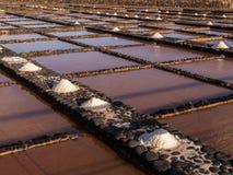 Cacerolas de la sal en Fuerteventura, islas Canarias fotos de archivo