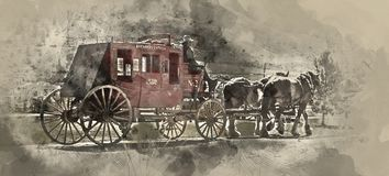 Painterly converted image of the horse drawn carriage at Historic Hat Creek stock photography