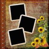 Cache d'album avec la trame et les fleurs Illustration Stock