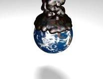 Cache de la terre par le pétrole collant illustration de vecteur