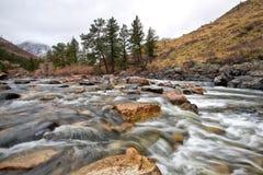 Cache Le Poudre River traverse le canyon à l'ouest du fort Coll images stock