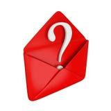 Cache rouge avec un symbole blanc de requête à l'intérieur. illustration stock
