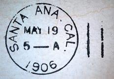 Cachet de la poste d'Américain de Santa Ana la Californie 1906 Photo libre de droits