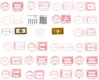 cachets de la poste d'étiquettes Photo stock