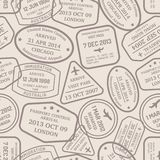 Cachets and hand stamps of passport control. Seamless background pattern of a close packed assortment of cachets and hand stamps of passport control offices from Stock Photography