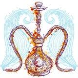 Cachimbo de água com ornamento oriental e fumo ilustração stock