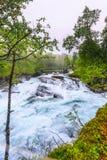 Cachoeira ao longo do Aurlandsfjellet Noruega Imagens de Stock